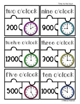 printable clock puzzle 21 best telling time practice images on pinterest math