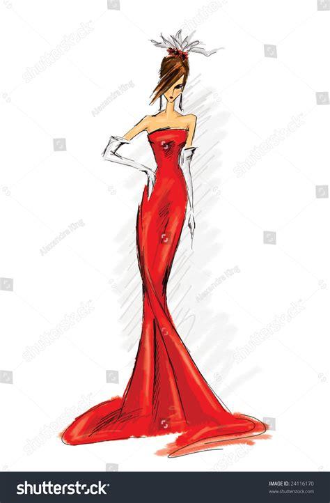 fashion illustration model fashion illustration model dress stock