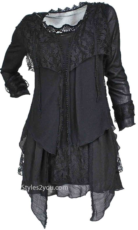 Angelic Top Black Blouse plus size layered vintage blouse in