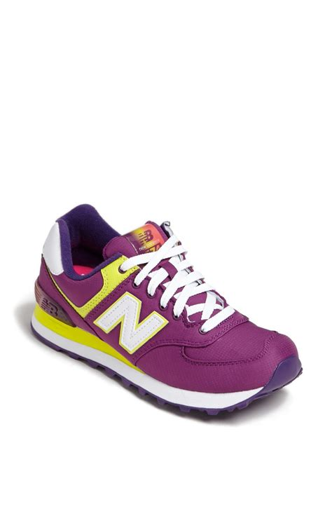 purple new balance sneakers new balance 574 sneaker in purple purple yellow lyst