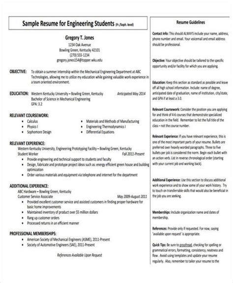 resume format for internship for mechanical engineering 31 professional engineering resume templates pdf doc