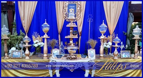 Superior Backyard Party Decorations #6: Royal blue gold wedding anniversary party theme in