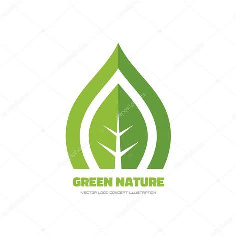 Green Nature Vector Logo Concept Illustration Green Leaf Logo Nature Logo Ecology Logo Green Concept Logo Vectors
