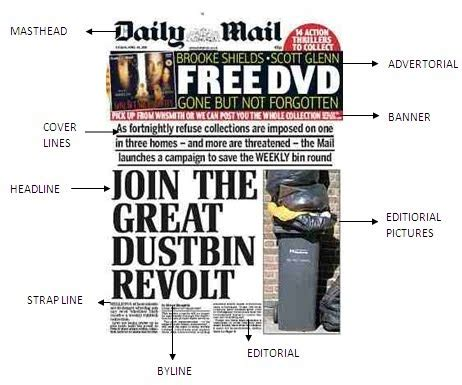 newspaper layout strapline mediastudies newspaper assignment generic convention of
