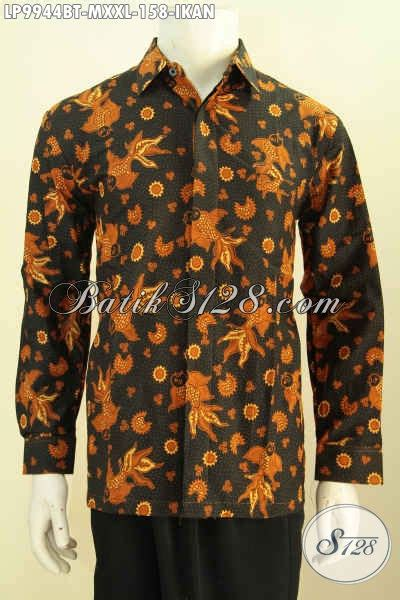 Batik Hem Ikan busana batik keren model lengan panjang kemeja batik halus motif ikan proses kombinasi