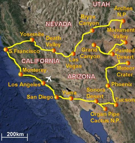 grand mappa geografica viaggio nel sud ovest degli usa california arizona