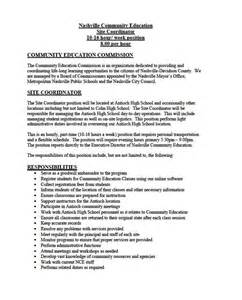 After School Site Coordinator Cover Letter by Metro Council District 29 Part Time Opportunity In Southeast Nashville For Community Education