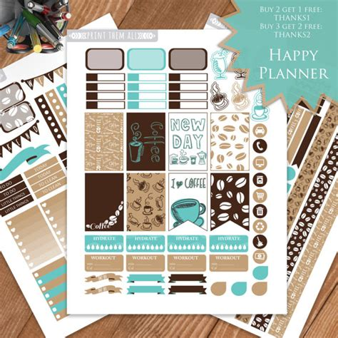 happy healthy life printable planner coffee printable planner stickers happy planner mambi