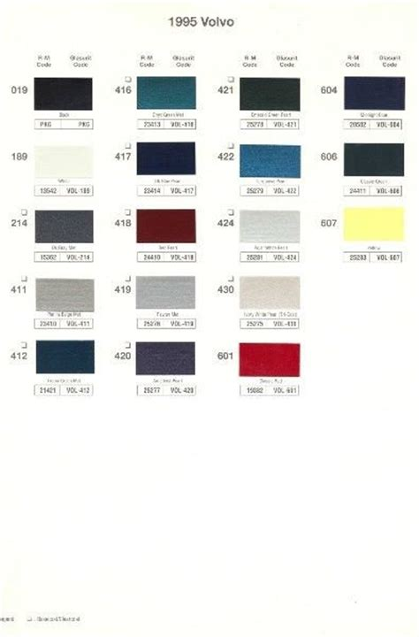 1995 volvo paint color sle chips card oem colors ebay