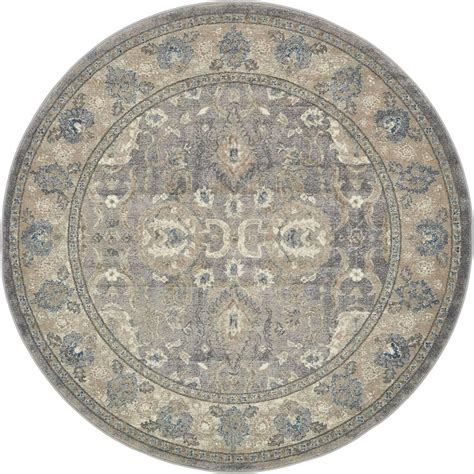 6ft circular rugs unique loom salzburg gray 6 ft x 6 ft rug 3134331 the home depot