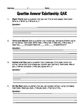 qar worksheet question answer relationship qar worksheet by one