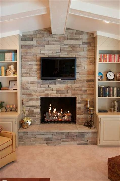 this faux or manufactured can dress up a brick fireplace that needs a refacing and works