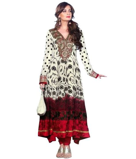 Anarkali Dress By Mohini 2 mohini fashion white embroidered unstitched