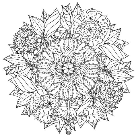 Contoured mandala shape flowers for adult coloring book in