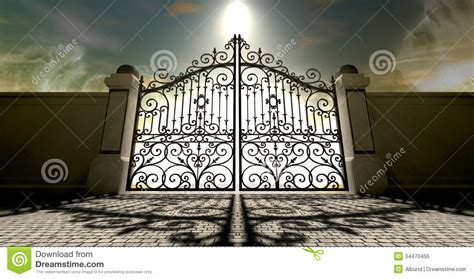 doodle a of light in the kingdom of darkness heavens closed ornate gates royalty free stock photo