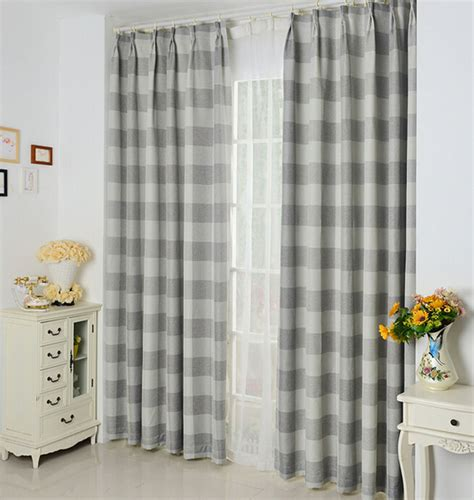 shabby chic linencotton fabric curtains blackout print gray