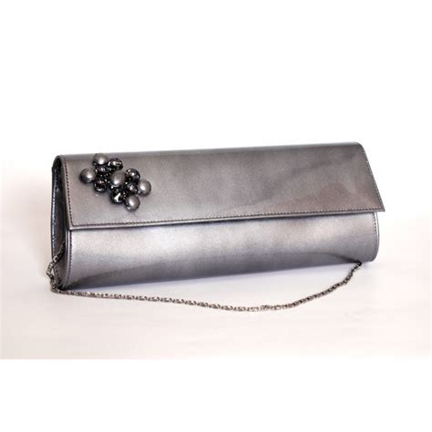 Silver Leather by Solitaire Silver Leather Clutch Bag
