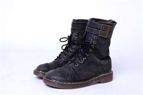 90s black suede doc martens combat boots with buckle 7