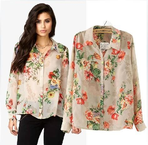 Flowers Casual Top 27161 new fashion vintage floral print blouses ol work shirts casual shirts slim