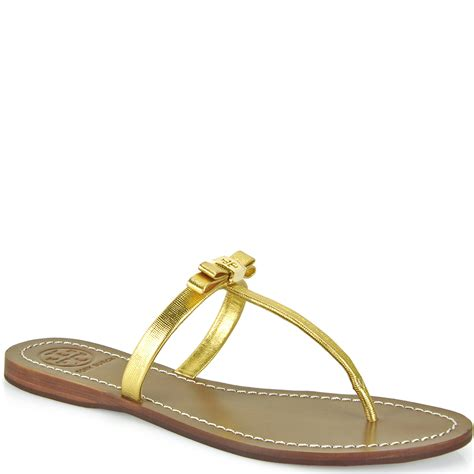 gold burch sandals burch leighanne flat sandal in gold lyst