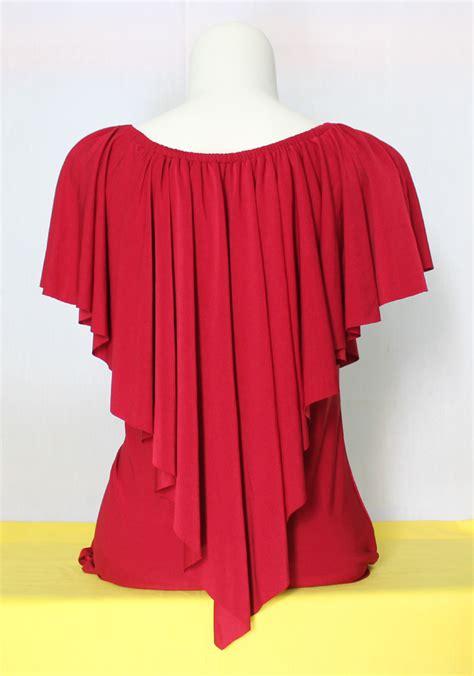 Gaga Top Kaos Blouse Salur Panjang butik baju baju tank top layer merah jual baju