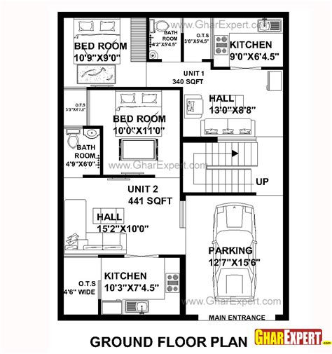 how big is 48 square feet house plan for 30 feet by 40 feet plot plot size 133