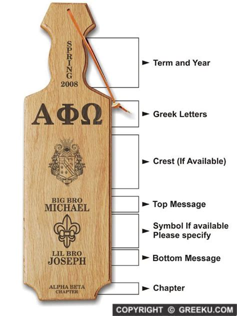 fraternity paddle template laser engraved alpha phi omega paddle low price