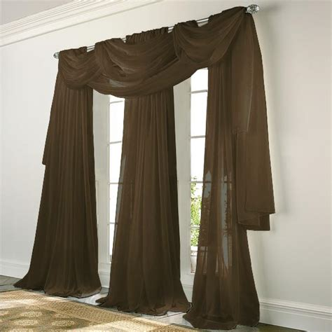 elegance voile chocolate brown sheer curtain bedbathhomecom