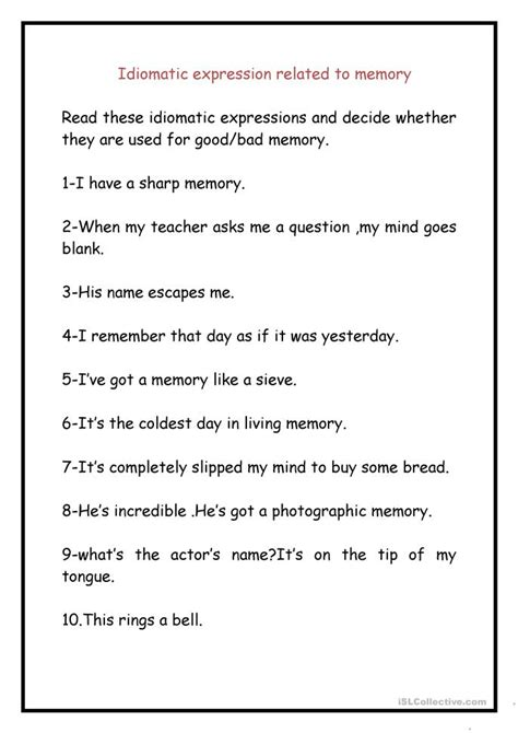 idiomatic expressions related to memories worksheet