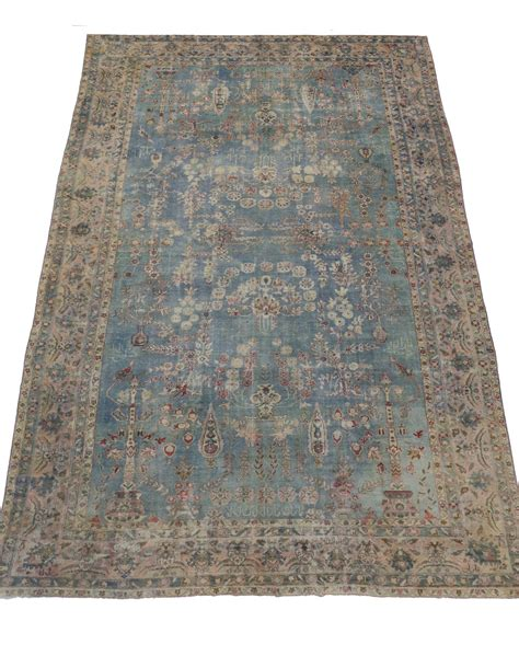 antique blue rug light blue antique kerman kirman distressed rug for sale at 1stdibs