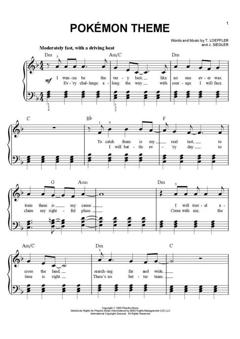 theme songs of pokemon theme piano sheet music onlinepianist
