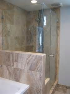 seamless corner showers on a pony wall