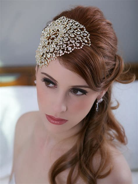 Wedding Headpiece White And Gold gold bridal headpiece deco beaded