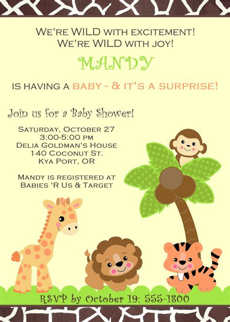 Lion King Baby Shower Invitations Free Printable Baby Shower Invitations Templates Jungle Animal Invitation Templates