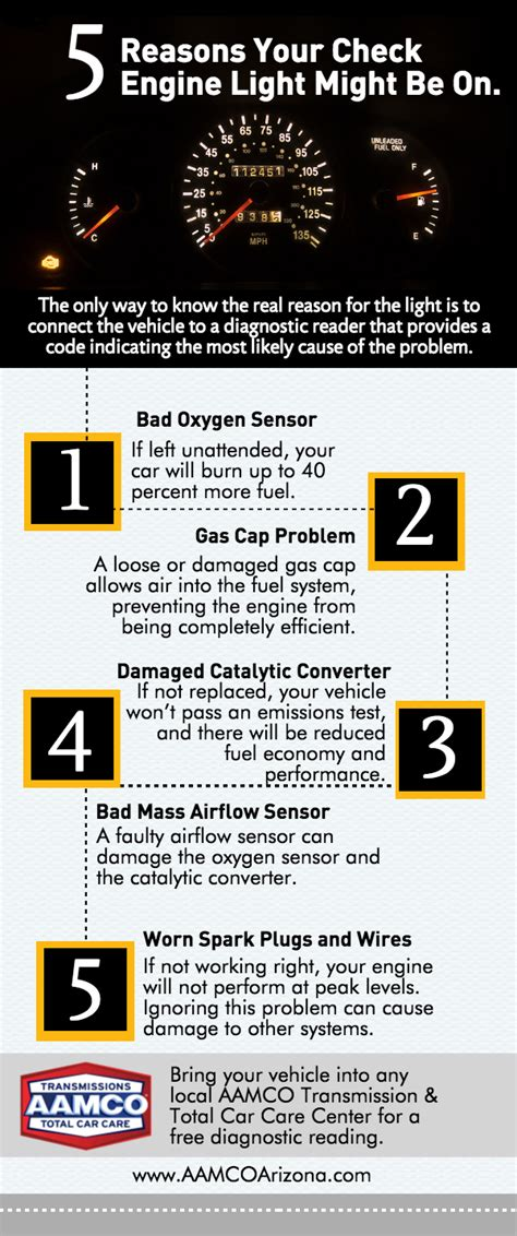 common causes of check engine light the five most common causes of a check engine light and