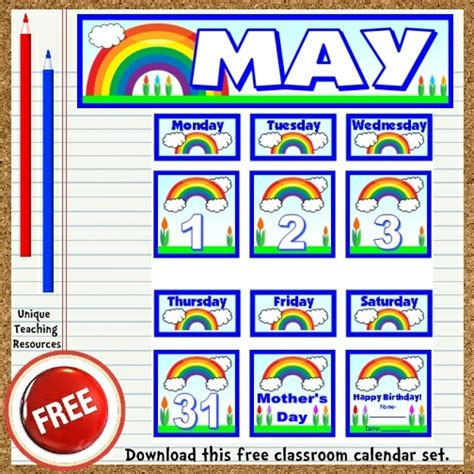 printable calendar classroom free printable bulletin board sets calendar template 2016