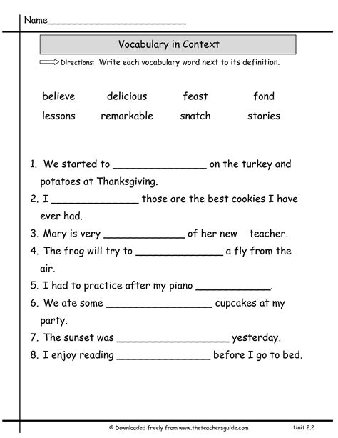 Vocabulary Context Clues Worksheets by Words In Context Worksheet Free Worksheets Library