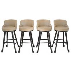 Padded Swivel Bar Stools Four Wood And Upholstered Swivel Bar Stools At 1stdibs