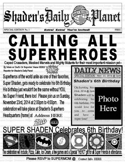 superhero newspaper template business template