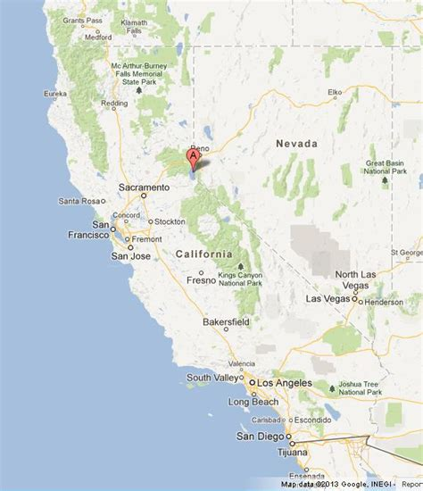 california map lake tahoe lake tahoe on map of california world easy guides