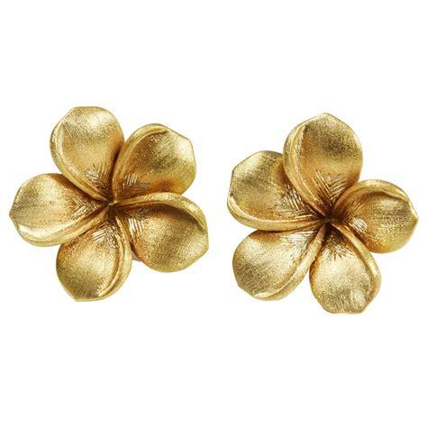 flower design ear studs jade jagger large gold flowers earrings at 1stdibs