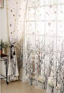 Branch white sheer with brown green dots window curtain drape panel