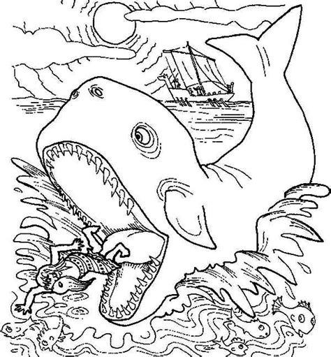 free jonah and the big fish coloring pages