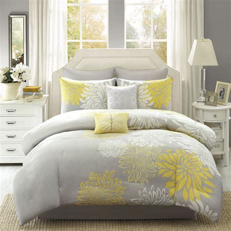Beautiful White Comforter Sets by Beautiful 8 Pc Modern Chic Yellow Grey Ivory White Floral
