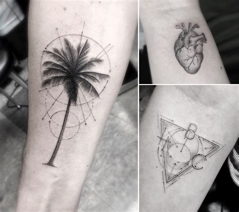 elegant fine line geometric tattoos by dr woo colossal