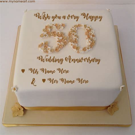 Write Parents Name On 50th Wedding Anniversary Wishes Cake