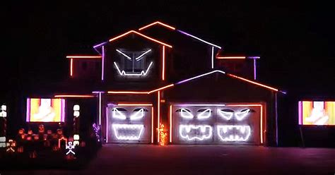 halloween house with lights and music ghostbusters house halloween light display music video