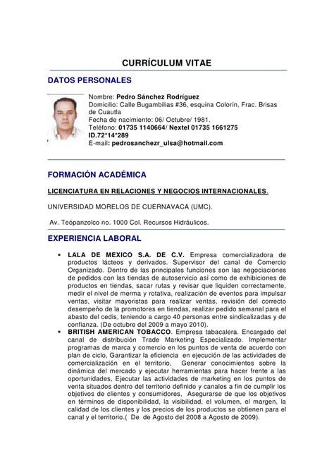 Modelo De Curriculum Vitae Con Licencia De Conducir Curriculum Vitae