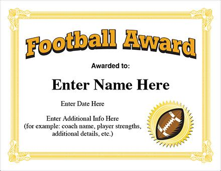 football certificate templates football award certificate template recognition