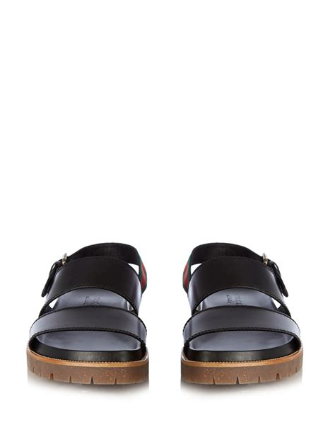 Coming New Gucci Web Leather With 2 Straps Medium gucci leather sandals in black for lyst
